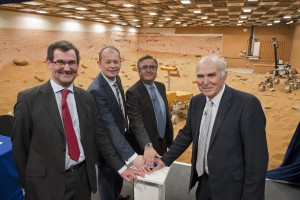 Andrew Stroomer (Airbus Defense & Space), David Parker, Gimenez (ESA), Vince Cable